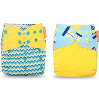 2x Happy Flute washable Bamboo Nappy Cloth Diaper (chevron/yellowboat flap) Price Philippines