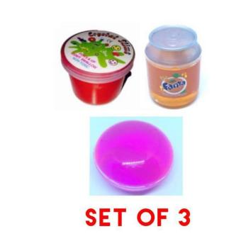 3 Kinds Tiny Slime Goo Toy Assorted Set of 3 (colors and design onpic)