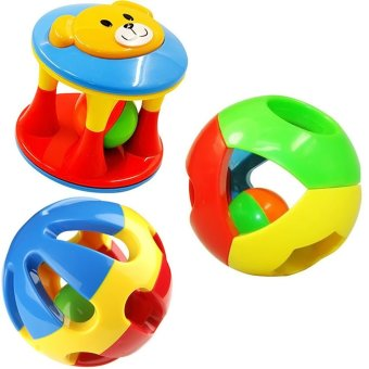 3 Pcs Set Baby Infant Kid Toy Musical Instrument Plastic ShakerBell Ring Ball Hand Shaker Educational Gift