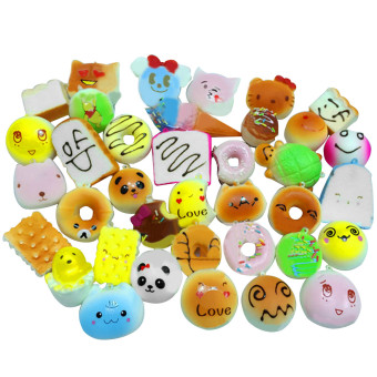 30 Pcs Kawaii Mini Squishy Soft Simulated Food Panda Bread CakeBuns Pendants Key Rings Keychains Phone Chain Straps OrnamentsAccessories Random Style - intl