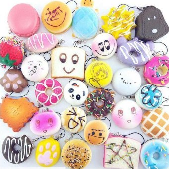 30Pcs Jumbo Medium Mini Random Squishy Soft Panda/Bread/Cake/Buns Phone Straps Multicolor - intl - 2