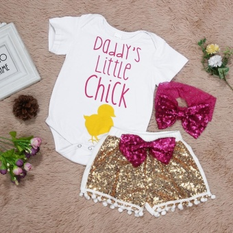 3pcs Infant Baby Girl Soft Cotton Tops Romper + Sequin Pants +Headband Summer Outfits (White+Gold) - intl - 3