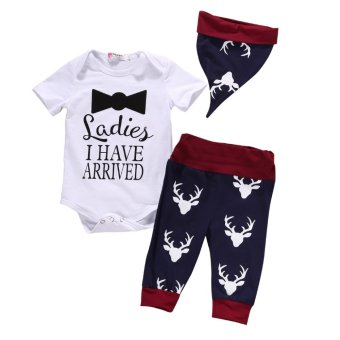 3Pcs Newborn Baby Boy Clothing Set Fashion Short SleeveRomper+Pant+Hat Outfits Set - intl