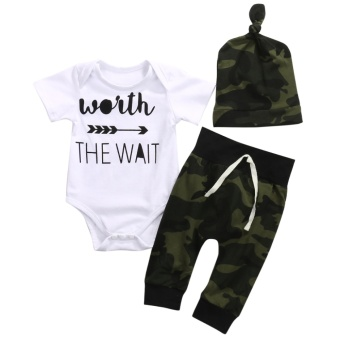 6736ba02a1ec 3PCS Newborn Baby Boys Clothing Set Romper +Camouflage Pants+ Hat Infant  Clothes - intl