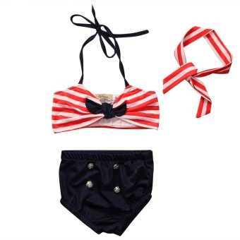 3PCS Summer Fashion Kid Girls Clothing Set Baby Bikini StripeSwimsuit Swimming Clothes Beachwear - Red - intl