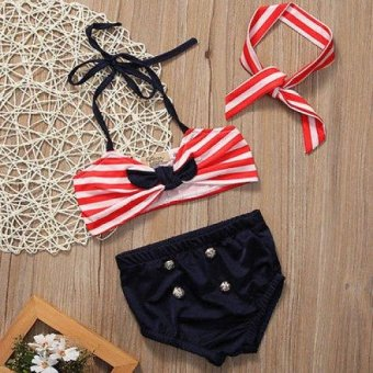 3PCS Summer Kid Girls Clothing Set Baby Bikini Stripe SwimsuitSwimwear Swimming Clothes Beachwear - Red - intl - 2