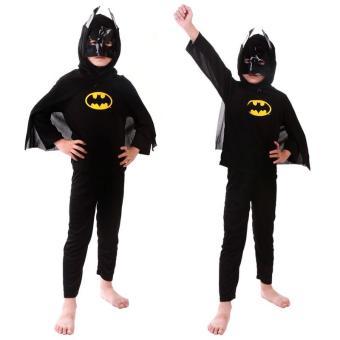 3PCS Top+Pants+Mask Cosplay Batman Halloween Costumes for Kids Boys(Size S Height 90-105CM) - intl - 2