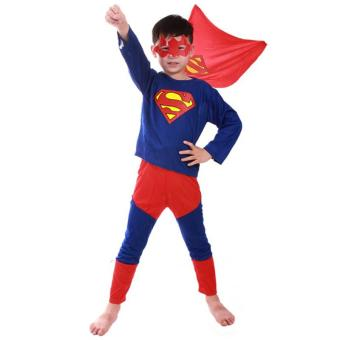 3PCS Top+Pants+Mask Cosplay Superman Halloween Costumes for KidsBoys(Superman) - intl