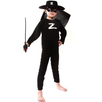 3PCS Top+Pants+Mask Cosplay Zorro Halloween Costumes for Kids Boys(Size S Height 90-105CM) - intl