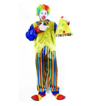 3PC/Set Clown Cosplay Halloween Costumes for Adult MenJumpsuit+Cap+Top Size 170-185CM - intl