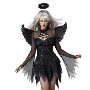 (3PCS/Set Black Devil Dress+Headwear+Wings)Adult Sexy Fancy Dress Halloween Costumes for Women - intl