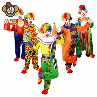 3PCS/Set Clown Cosplay Halloween Costumes for Adult WomenDress+Shawl+Cap Size 155-175CM - intl - 3