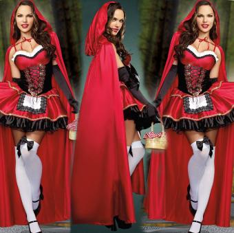 3PCS/Set Cosplay Dress+Cloak+Gloves Little Red Riding Hood Adult Halloween Costume for Women (M Size) - intl