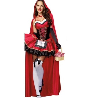 3PCS/Set Cosplay Dress+Cloak+Gloves Little Red Riding Hood Adult Halloween Costume for Women (M Size) - intl - 3