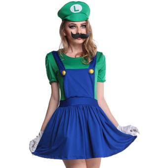 3PCS/Set Louis Mario Super Marie Clothes Cosplay Costume -Green(Size XL)