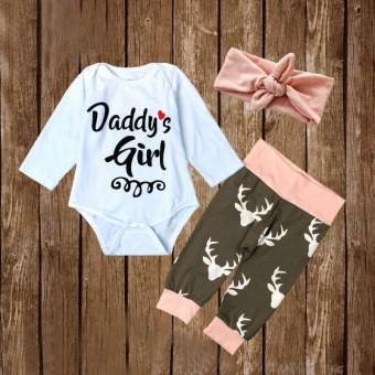 3Pcs/Set Romper Long Pants Headband Letter Elk Printed InfantNewborn Baby Girls Children Clothes - intl