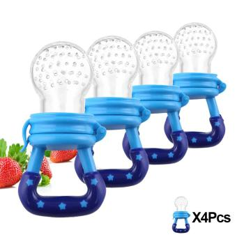 4 Pcs Baby Pacifier Fruits And Vegetables Nipple Blue (Intl) - Intl