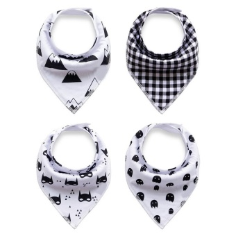 4 pcs Cotton Baby Feeding Saliva Towel Unisex Triangle Bibs - intl