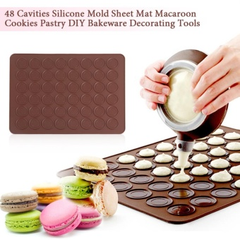 48 Cavities Silicone Mold Sheet Mat Macaroon Cookies Pastry DIYBakeware Decorating Tools - intl