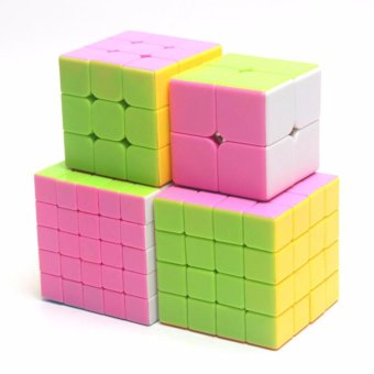 4pcs Rubiks Stickerless Magic Speed Cube Collection Set 2x2 3x3 4x45x5