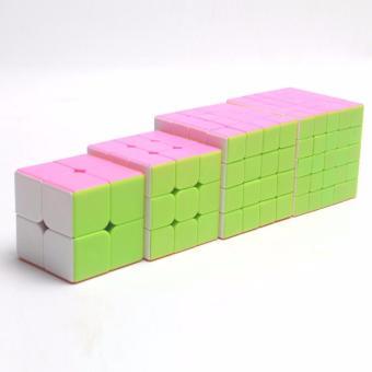 4pcs Rubiks Stickerless Magic Speed Cube Collection Set 2x2 3x3 4x45x5 - 2