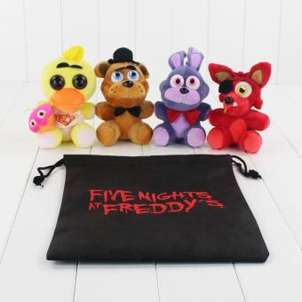 4pcs/lot Five Nights At Freddy Plush Toy FNAF Foxy Mangle FreddyFazbear Bear Rabbit Duck Stuffed Pendant Doll with Gift Bag - intl