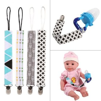 4pcs/set Baby Pacifier Clip Chain Printing Cotton Strap SootherNipple Holder - intl