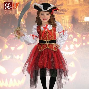 4PCS/Set Dress+Belt+Hat+Skirt Kids Party Cosplay Dress Up PirateHalloween Costumes for Girls (L Size Height 115-125CM) - intl - 2