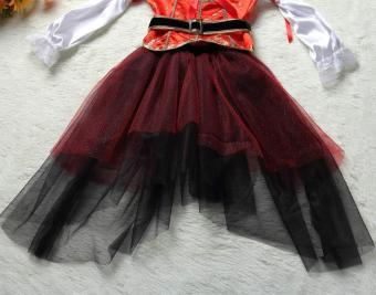 4PCS/Set Dress+Belt+Hat+Skirt Kids Party Cosplay Dress Up PirateHalloween Costumes for Girls (L Size Height 115-125CM) - intl - 5