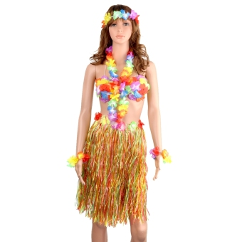 5-in-1 Hawaii Tropical Hula Grass Dance Skirt & Bra &Flower Bracelets & Headband & Necklace Set Colorful