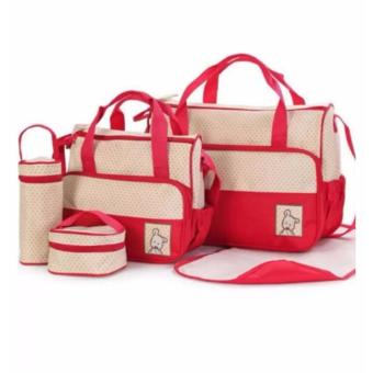 5 in 1 Mommy Essential Diaper Tote Bag - Multifunction (Red)