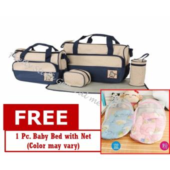 5 in 1 Multi Function Baby Diaper Bag with FREE Baby Bed