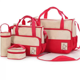 5 in 1 Multifunction Baby Diaper Changing Bag (Red)