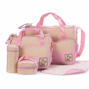 5-piece Baby Changing Diaper Nappy Bag Handbag Multifunctional Bags Set (Pink)