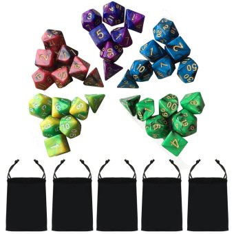 5 Set 35 PCS Acrylic Polyhedral Number Game Dice 7 Style D4 D6 D8 2D10 D12 D20 with Storage Pouches for Dungeons And Dragons Party Math Game Playing - intl