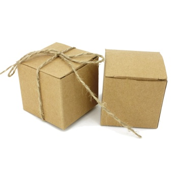 50 PCS Kraft Paper Boxes Brown Cardboard Wedding Party Candy GiftFavor Box with Strings - intl