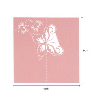 50pcs mariage wedding cards Wedding invitaions Decoration lasercutting invitation place wedding name cards party supplies,Pink -intl - 5