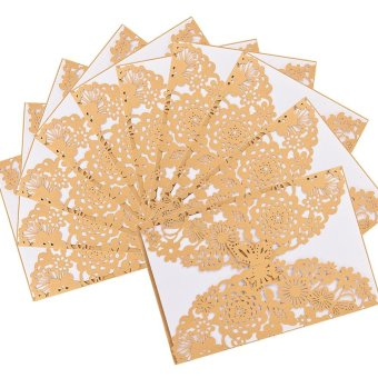 50x Elegant Laser Cut Butterfly Floral Hollow Wedding InvitationsCards Set for Wedding Engagement Bridal Shower, Purple - intl