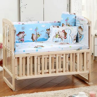 5Pcs baby crib bedding set 100x58cm newborn baby bed set crib bumper (monkey)