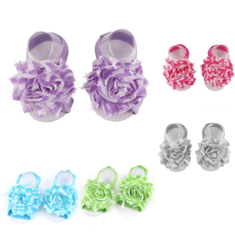 5PCS Baby Infant Shoes Barefoot Sandals Colorful Flower Pre-walkerShoes for 0- 4 Years Old Kids