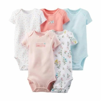 5pcs Baby Jumpsuit Rompers Newborn Baby Clothing 100% Cotton Short Sleeveless Next New born Baby Boys Girls One Piece Baby Clothes - intl