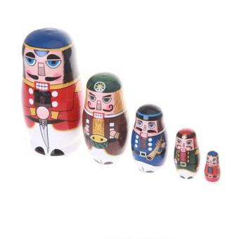 5pcs/ Set Nutcracker Solders Wooden Russian Handmade MatryoshkaNesting Dolls - intl - 2