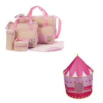 5pcs/Set Baby Changing Diaper Nappy Mummy Mother multifunctional Bags (Pink) with Castle Tent (Pink)