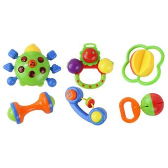 6 PCS Baby Kids Educational Toy Plastic Musical Instrument Hand Ring Bell Shaking Toy for Over 3 Months Old Babies - intl
