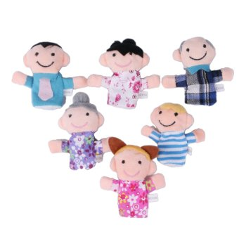 6 x Family Finger Puppets Play Game Tell Story Plush Cloth Baby Kids Toy Gift - Intl