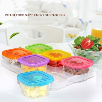 60ML 6 Piece Baby Block Set Baby Food Freezer Tray Food ContainersSprout Cups Reusable Stackable Storage Cups with Tray - intl Price Philippines