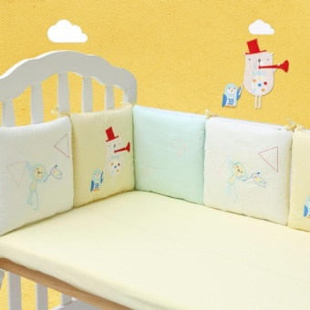 6Pcs Newborn Toddler Baby Bed Protective Bumper Cotton Baby Nursery Bedding Cot Pad - intl