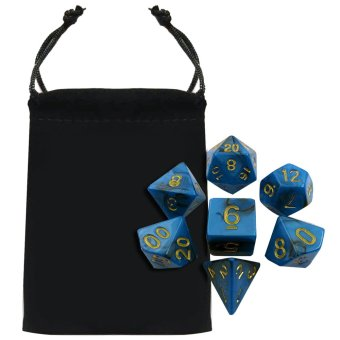 7 PCS Acrylic Polyhedral Number Game Dice Set 7 Style D4 D6 D8 2D10 D12 D20 with Storage Pouch for Dungeons And Dragons Party Math Game Playing Blue Mixed Black - intl