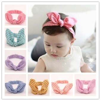 8 PCS Baby Girl Elastic Turban Headbands Head Wrap Rabbit Ear Hair Band - intl