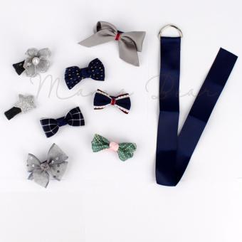 8pcs Mixed Lovely Blue Gray Ribbon Bow Kids Baby Hair Clip Set withRibbon Holder Organizer Hair Pin for Baby Girls Kids Price Philippines